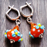 Orange Earrings Jewelry Polka Dot Earrings Sterling Silver Earrings Floral Lampwork Glass Earrings Beadwork Beaded Girl Women Accessories