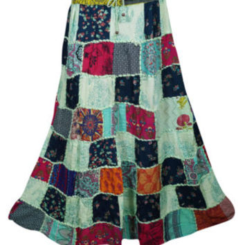 BOHEMIAN MEDLEY GYPSY SKIRT PATCHWORK INDIAN GUJARATI VINTAGE LONG SKIRTS