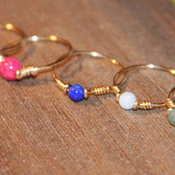Stone Thin Ring, Pick Your Stone:Red, White, Green, Blue, Fossil, Adventurine, Lapis, Howlite, Custom Thin Ring, Knuckle Ring, Stacking Ring