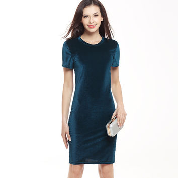VITIANA Brand Women Velvet Sheath Dress Green Black O-Neck Short Sleeve Slim Pencil Office Work Wear Knee Length Dresses