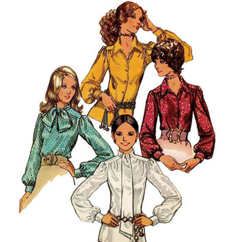 Vintage 1970s Simplicity 9718 Women's/Misses' Blouses - Zipper or Button, Balloon Cuffed Sleeves - Bust 34/ Size 12 -UNCUT Sewing Pattern