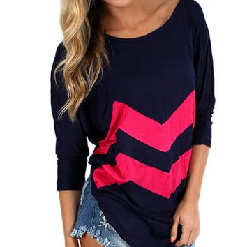 Black And Red Wave Print Long-Sleeve Shirt