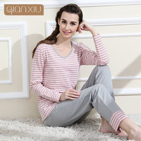 Qianxiu Brand Pajamas Cotton Stripes Sleepwear Long sleeve lounge wear O-neck Women Pajama Set