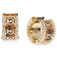 Michael Kors Gold-Tone Tortoise Pave Monogram Huggie Hoop Earrings
