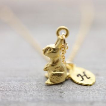 Custom hand stamped initial rabbit gold necklace