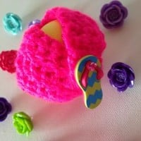 Neon Pink Kawaii EOS Lip Balm Cozy with Colorful Flip-Flop Button Closure, Split Ring, and Lobster Clasp