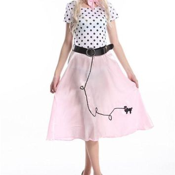 DCCKH6B FREE SHIPPING Womens 50's Style Cute Poodle Skirt Grease Halloween Outfit Dance Dress Costume 392