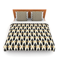 "Nika Martinez ""Glitter Triangles in Gold & Black"" Geometric Fleece Duvet Cover"