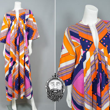 Vintage 60s 70s SAMUEL SHERMAN Psychedelic Maxi Dress Pucci Style Sambo Dress Art Deco Print Flared Sleeves Tent Dress 1960s Cotton Empire