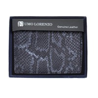 Umo Lorrenzo Men Genuine Leather Bi-Fold Wallet Snake Print