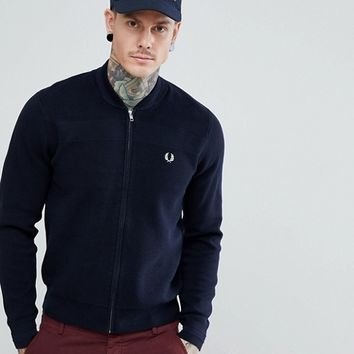 Fred Perry Knitted Bomber Jacket In Navy at asos.com