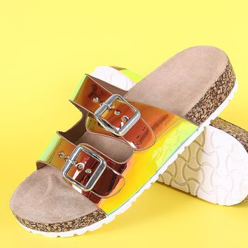 Bamboo Holographic Dual Buckle Open Toe Cork Footbed Slide Sandal