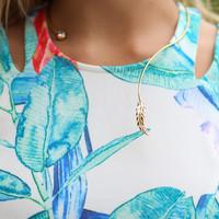 Leaf It To Me Open Choker Necklace With Leaf Pendant