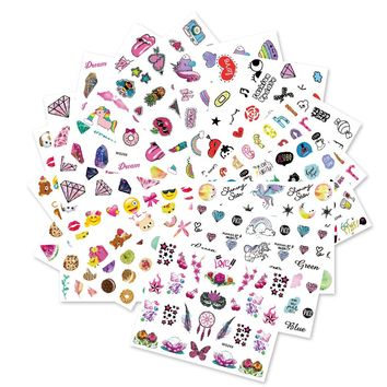 Full Beauty 20PCS New Unicorn Diamond Emoji Nail Sticker Colorful Children DIY Pattern Water Transfer Decals Sets CHWG246-265
