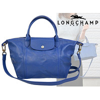 LONGCHAMP Le Pliage Cuir Leather Bag Satchel Tote Blue