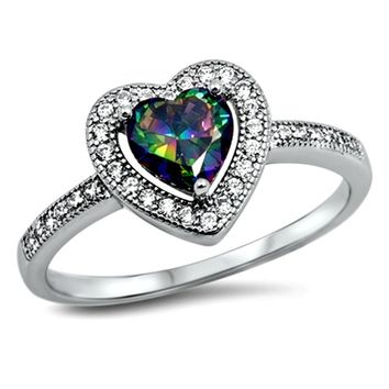 .925 Sterling Silver Halo Rainbow Mystic Topaz Heart Ladies Ring size 5-10 Solitaire Pre-Engagement and Engagement