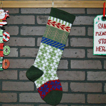 Hand Knit Argyle Christmas Stocking in Green, Fair Isle Knit with Taupe Trees and Royal Blue Snowflakes, can be personalized, Gift Idea