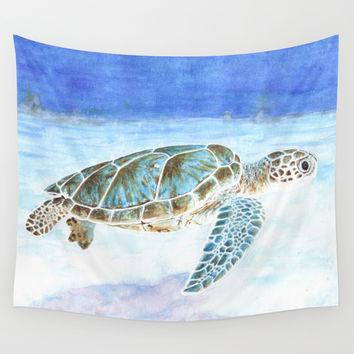 Tortue verte / Green Turtle Wall Tapestry by Savousepate