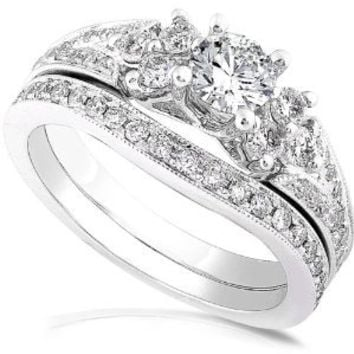 1.00ctw Round Brilliant Diamond Wedding Ring Set in 14Kt White Gold (HI/I1-I2) - Size 5
