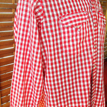 Mens Red Gingham Shirt Size L Rockmount Ranch Wear Snap Button Down Front Pockets Long Sleeve Men's Western Wear Vintage