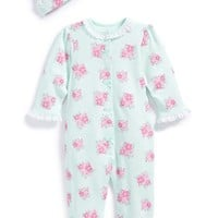 Infant Girl's Little Me 'Spring Posies' Footie & Hat