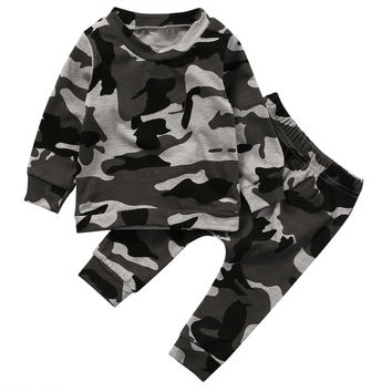 2pcs Camouflage Baby clothes set Newborn Toddler Infant Baby Boy Girl Clothes T-shirt Tops+Pants Outfits Set