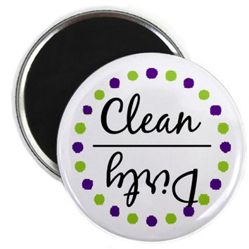 Clean or Dirty Paint Splat Dishwasher Magnet - Purple and Light Green