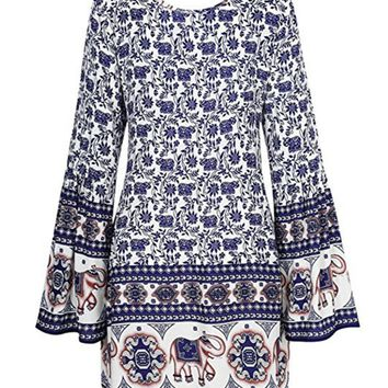 Casual Bell Sleeve Round Neck Printed Shift Dress