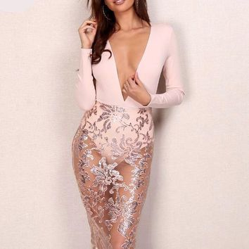 Blush Sequin Mesh Dress