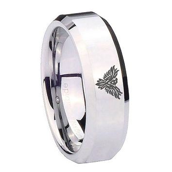 8MM Mirror Bevel Edges Phoenix Silver Tungsten Laser Engraved Ring