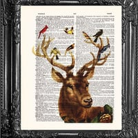 Deer With Birds -Dictionary Print Vintage Book Print Page Art, Upcycled Antique Book Art, Vintage Mixed Media Collage Book Art