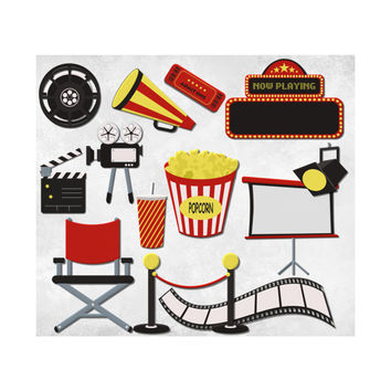 Digital Scrapbooking Kit Movie Clipart Cinema Clip Art Graphics, Movie Night, Hollywood FIlm, Red Black and Yellow Images, Commercial Use