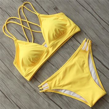 Swimwear Women Bikini 2018 Sexy Push Up Swimsuit Female Plus Size Solid Bathing Suits Beach Swimming Suit for Women Bikinis Set