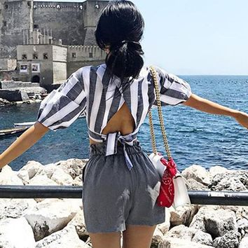 Short Sleeve Tops Summer Ladies Stripes Backless Crop Top Women's Fashion T-shirts [10802553603]