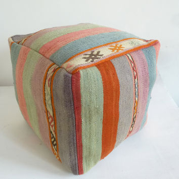 Pastel Kilim Pouf with large stripes