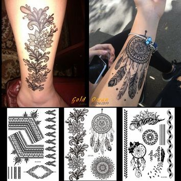 1PC Hot Black Henna Tattoo Sticker Dreamcatcher Design GBJ013 India Sunflower Large Flower Chains Wedding Pattern Tattoo Feather