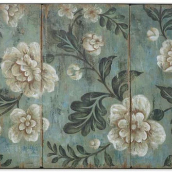 Floral Wall Art - Peach And Aqua Flower Themed