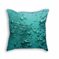 Underwater Blue Bubbles throw pillow