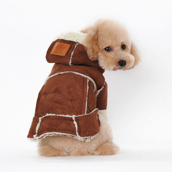 2016 Winter Sherpa Suede Dog Coat Fashion Warm Dog Jacket Hooded Dog Fleece Clothes High Quality Pet Dog Clothes