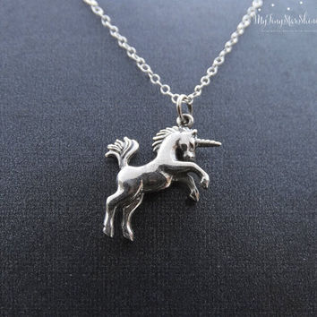 Silver Unicorn Necklace Unicorn Jewelry Magical Unicorns Fairytale Sterling silver Necklace Horse Necklace