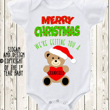 Christmas Pregnancy Announcement for parents Christmas baby Announcement Idea  Pregnancy reveal gift to Grandparents  Onesuit ® brand shirt