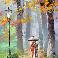 "Autumn kiss - Palette Knife Oil Painting On Canvas By Dmitry Spiros Size:24""x32"""