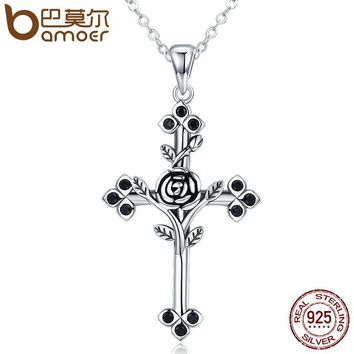 Authentic 925 Sterling Silver Rose Flower Leaf Cross Pendant Necklaces for Women Sterling Silver Jewelry Collares SCN091