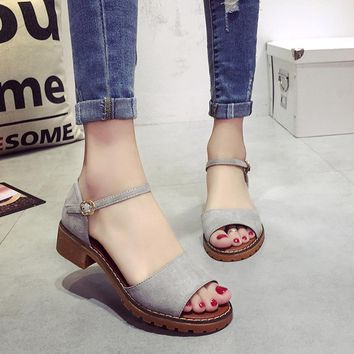 Summer Floral Sandals Fish Mouth Women Sandals Pu Suede Retro High Heels Square Heel Woman Buckle Shoe size 35-40