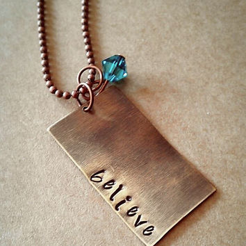 """Hand Stamped """"Believe"""" Necklace"""