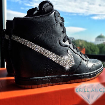 Swarovski Nike Shoes Bling Nike Dunk Sky Hi Essential Wedge Black Gum Bottom Customized Swarovski® Rhinestone Crystals Authentic New In Box