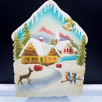 German Alps Christmas Calendar Top Embossed Die Cut Sign Large 17 by 12.5 Vintage 1950s Germany Marked Numbered