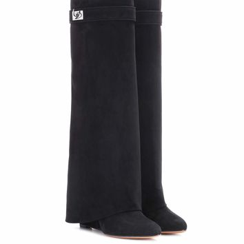 Pant Shark Lock suede wedge boots