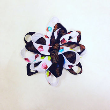 Spiral Two Layer Hair Bow-Flower Loop Hair Bow-Hair Accessories