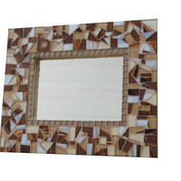 Brown Mosaic Mirror, Wall Art